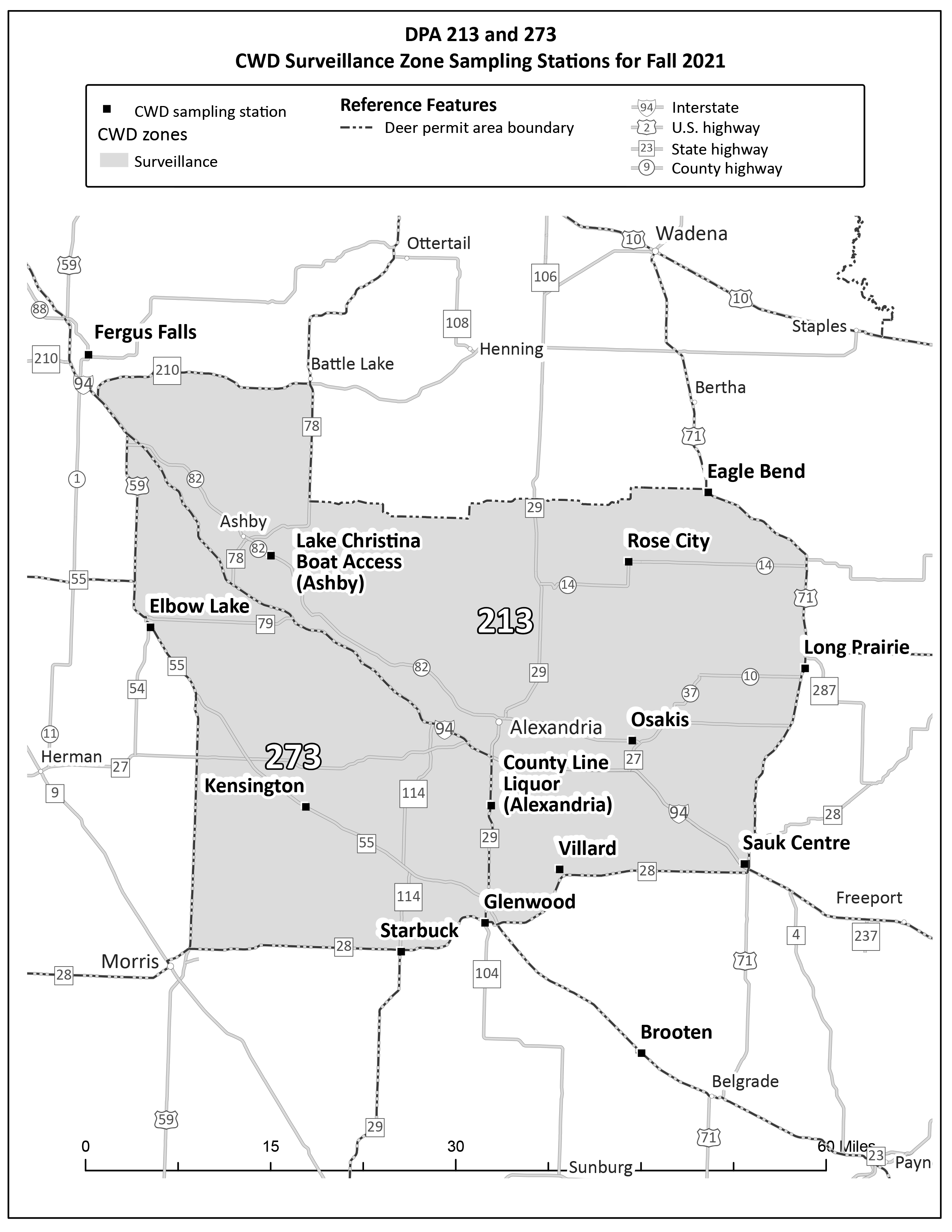 Map showing one section of the DPAs included in the CWD surveillance zone (DPAs 213, 273) and the sampling stations.