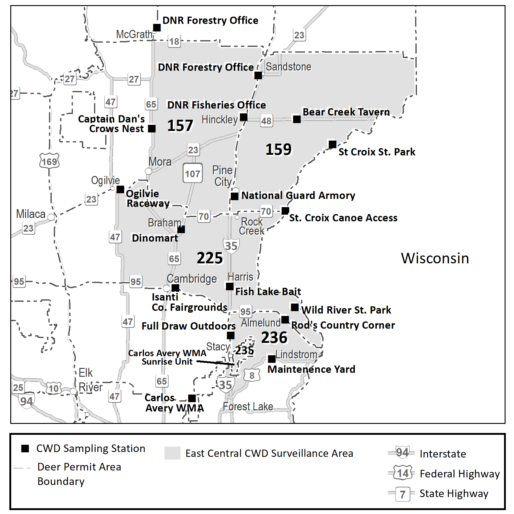 Map highlighting the DPAs in the east-central CWD surveillance area (portions of DPAs 157, 225, 235, 236, and all of DPA 159) and sampling stations in this area.