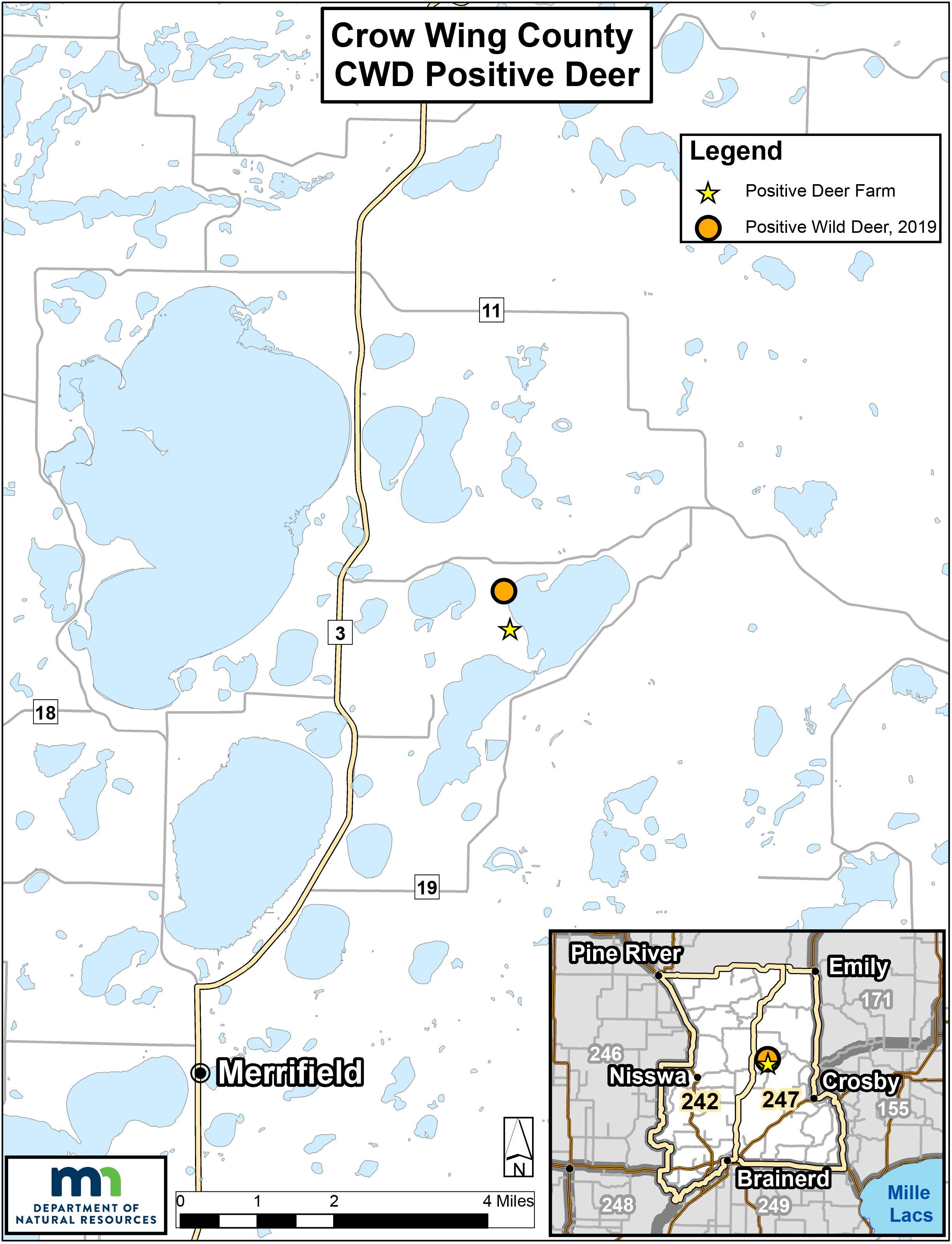 Map showing where CWD-positive deer have been found in north-central Minnesota.
