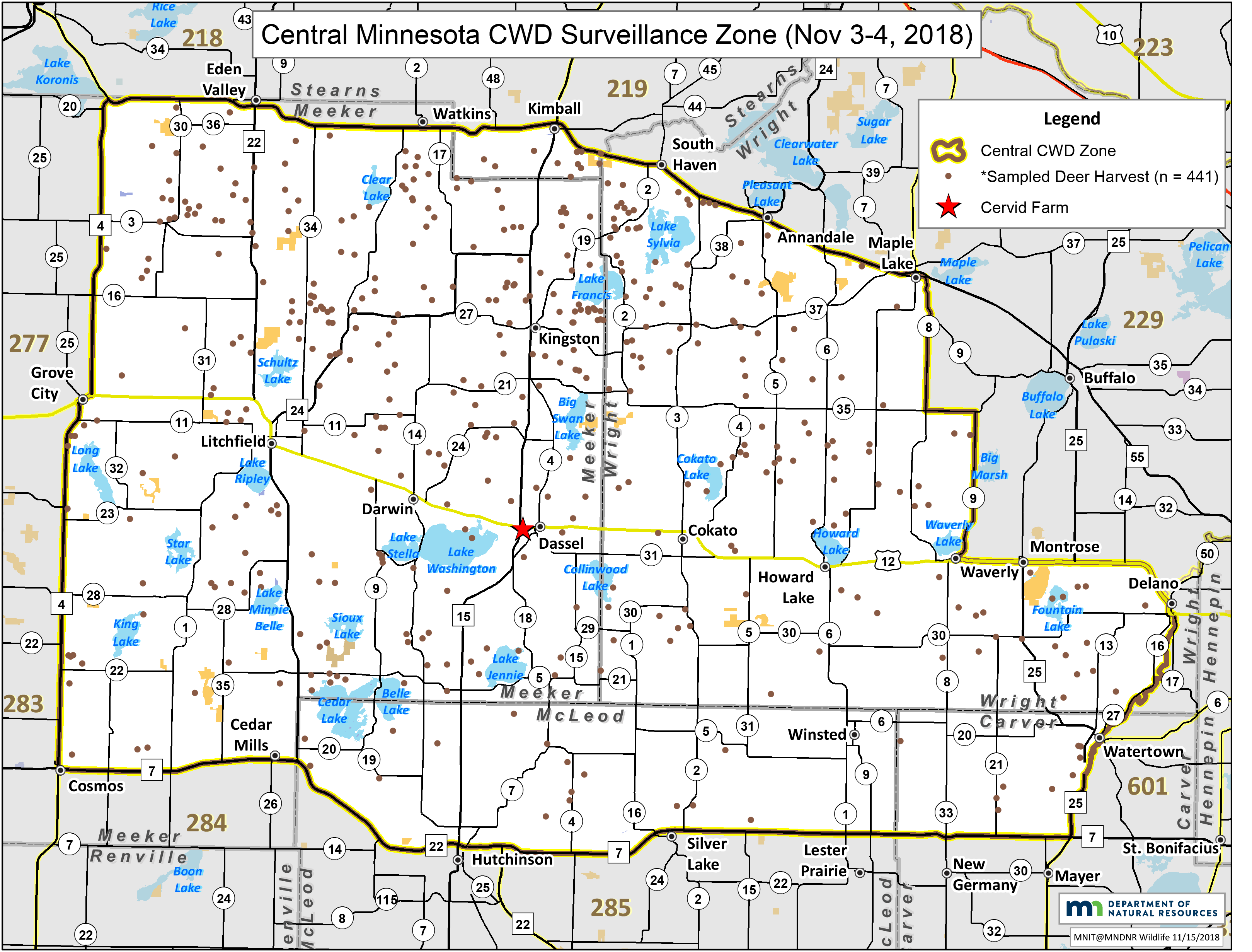 Map showing where CWD samplies were taken in central Minnesota.