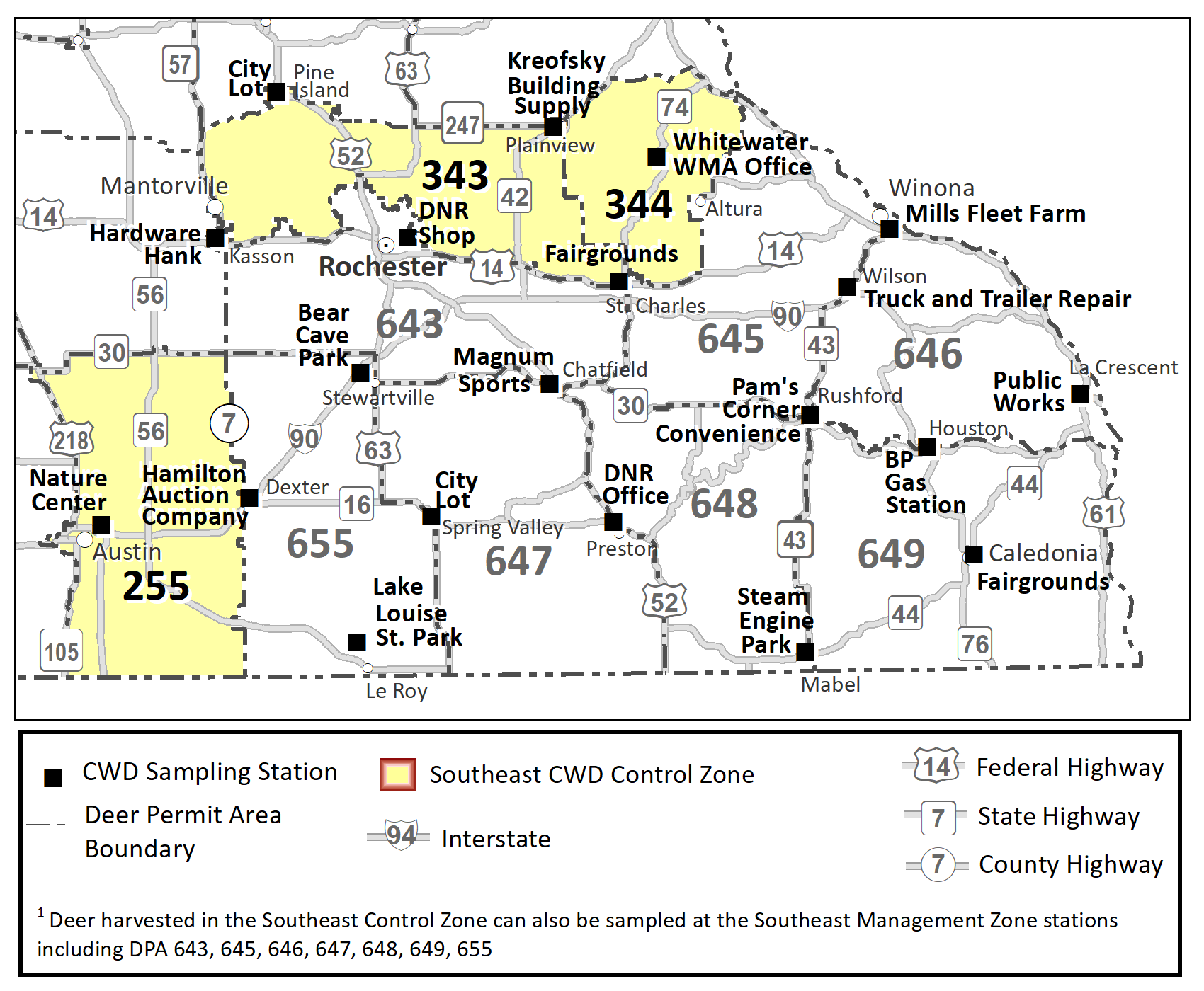 Map highlighting the DPAs included in the southeast CWD control zone (255, 343, 344) and sampling stations within the southeast control and management zones.