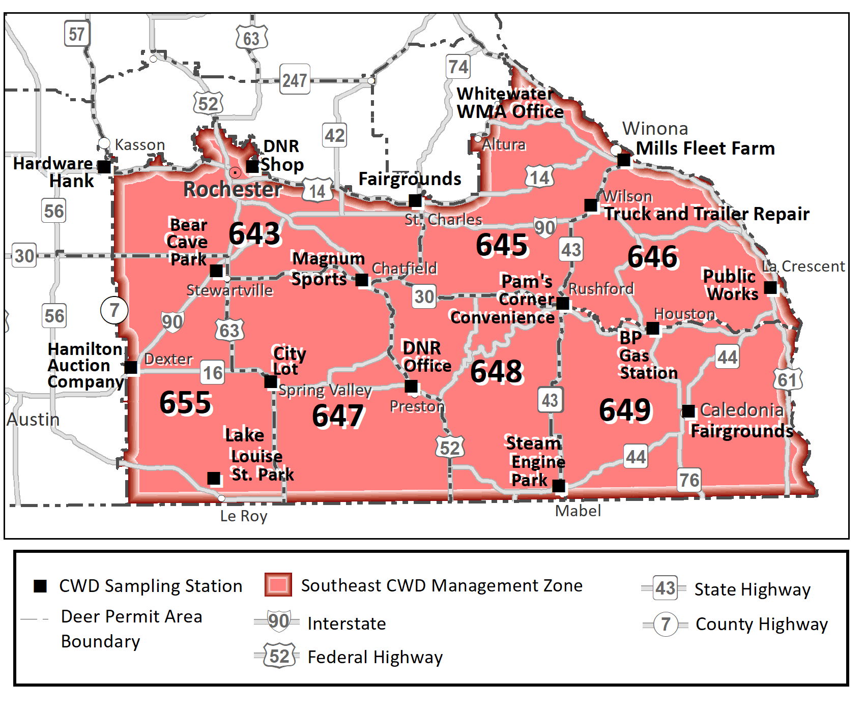 Map showing the DPAs included in the southeast CWD management zone (655, 643, 347, 648, 645, 646, 649) and sampling stations.