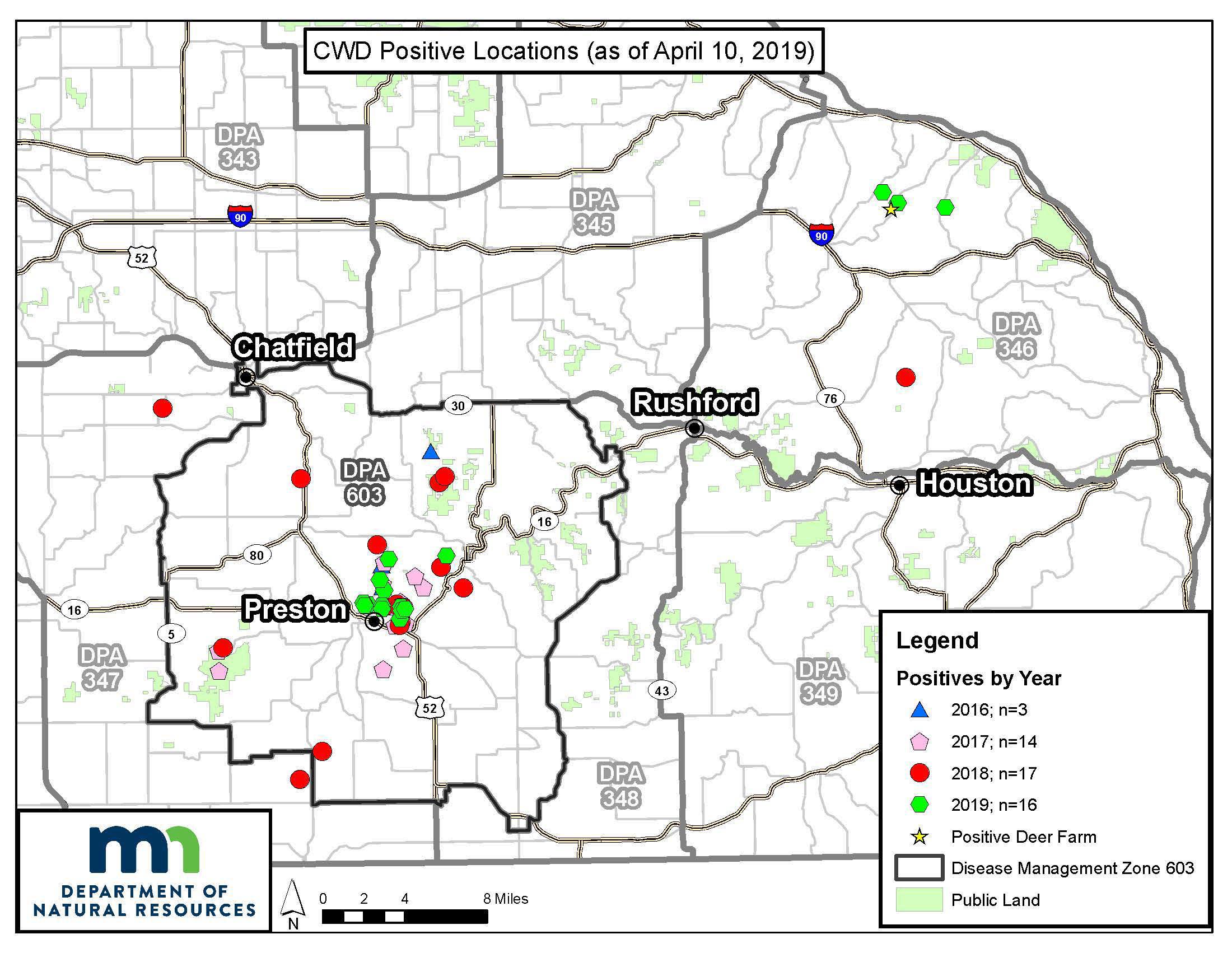 Map showing CWD positive deer in Minnesota.