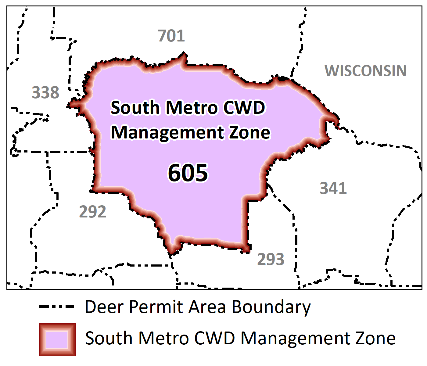 Map highlighting the DPA included in the south metro management zone: 605.