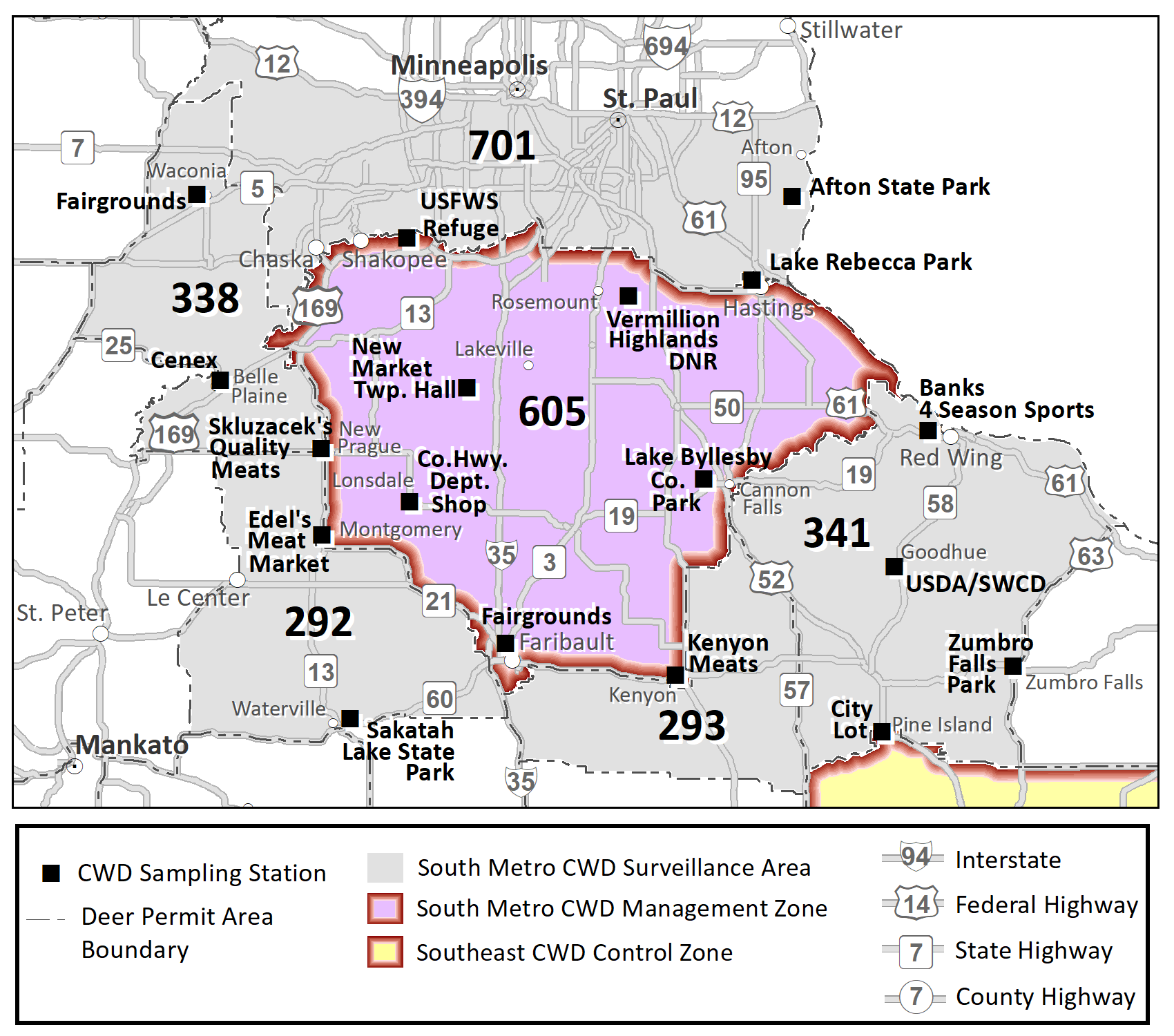 Map highlighting the DPAs in the south metro CWD surveillance area (292, 293, 338, 341 and 701) and sampling stations in this area.