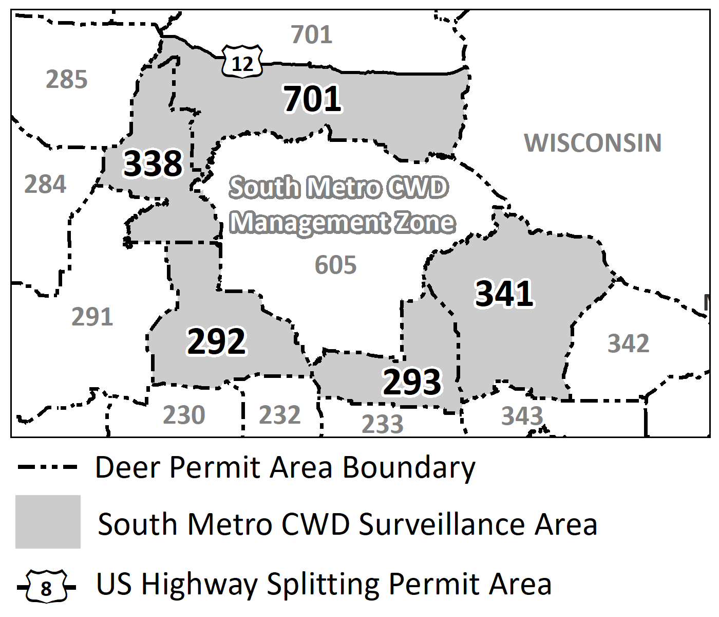 Map highlighting the DPAs included in the south metro CWD surveillance area: DPAs 292, 293, 338, 341 and 701.