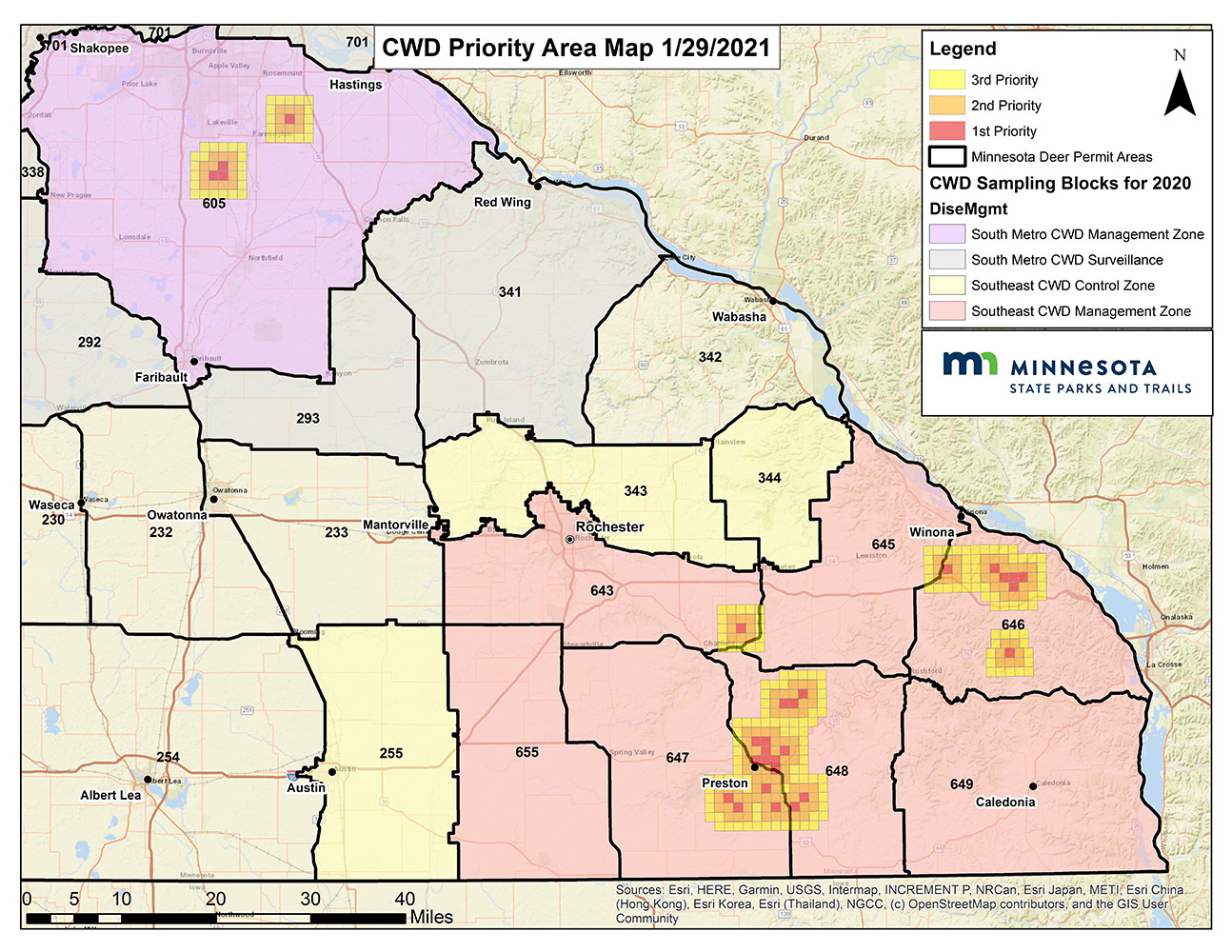 Map of the areas of focus for 2021 USDA targeted culling in Minnesota