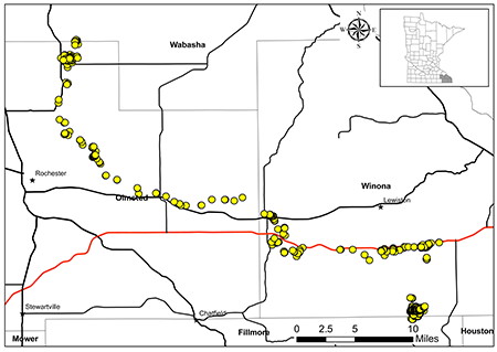 Map showing Doe 192's route from Rushford to Wabasha County, 37 miles away.