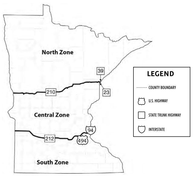 Map showing waterfowl hunting zones in Minnesota